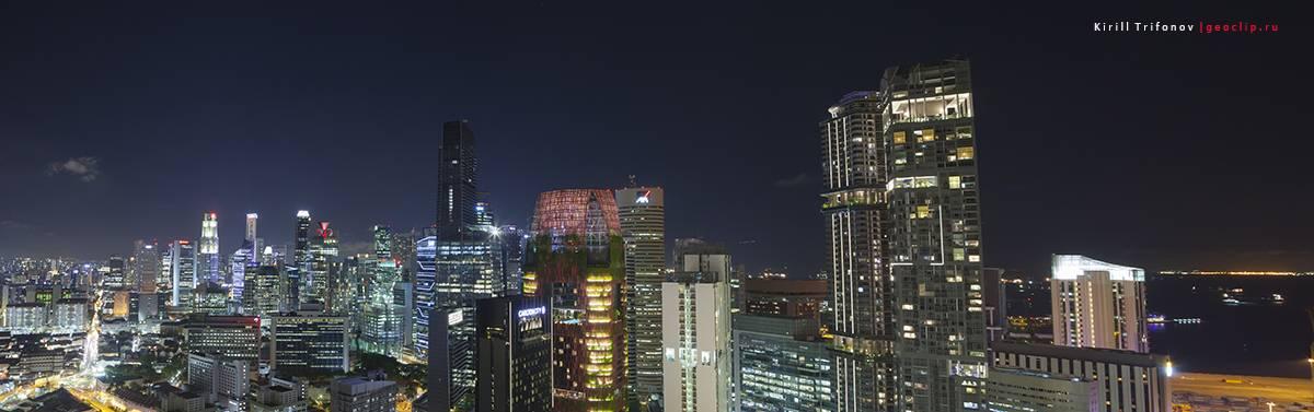 Ночной Сингапур вид со смотровой Pinnacle Duxton