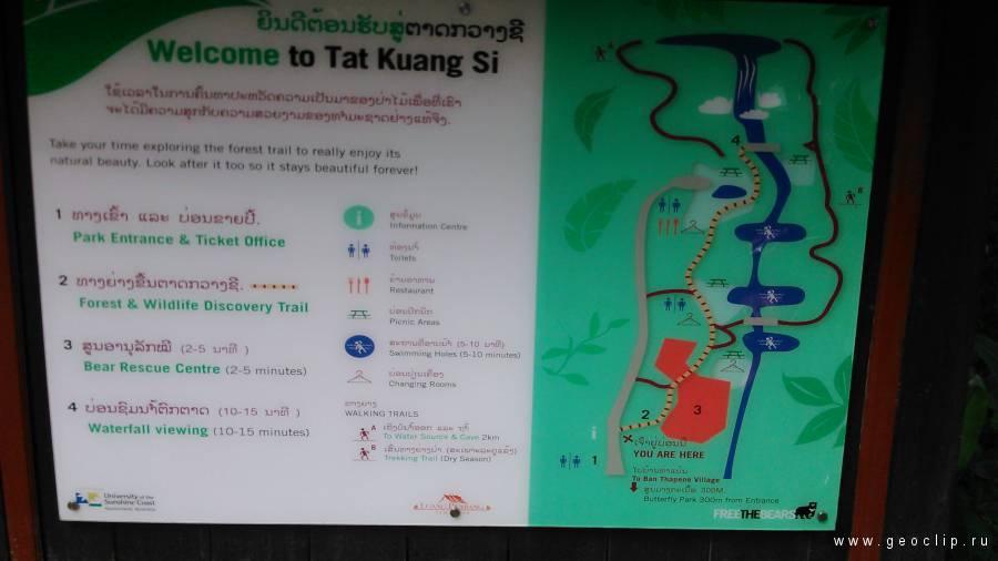 Схема водопада Куанг Си